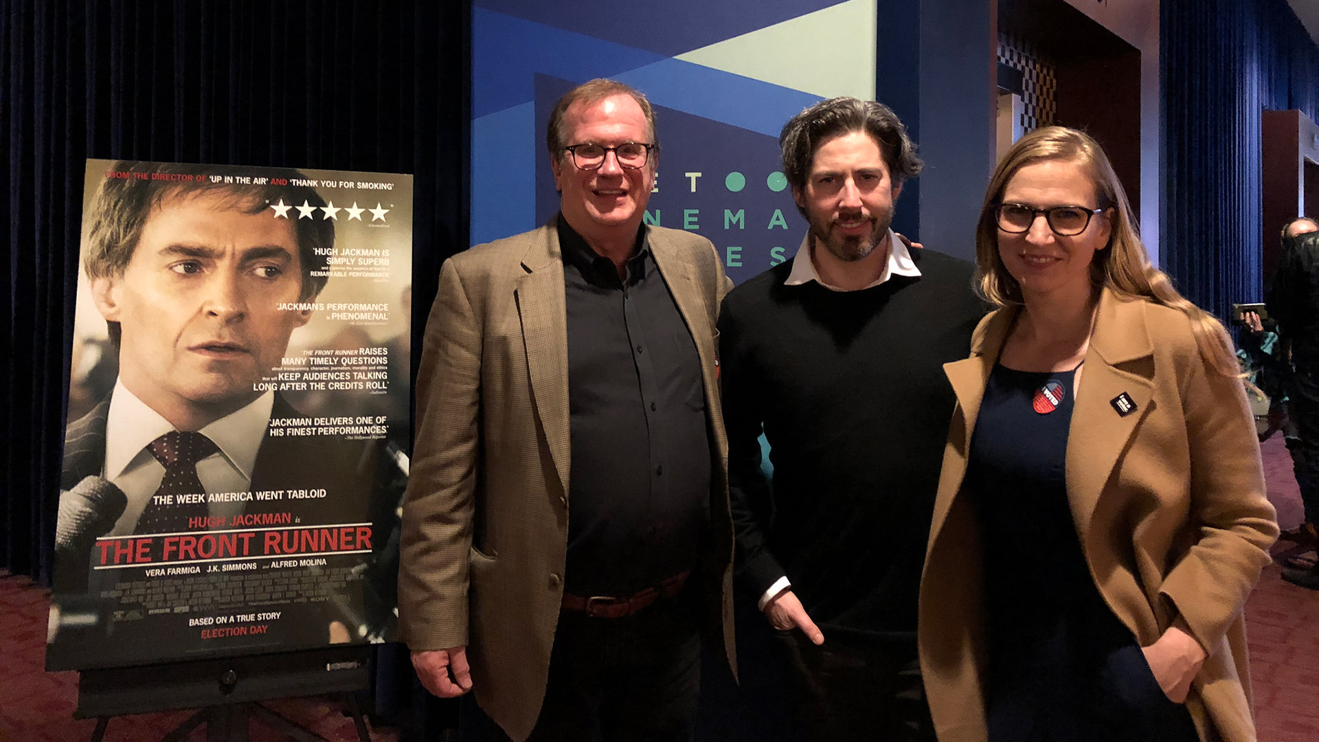 "Cinema Series host Pete Hammond with Director/Co-Writer/Producer Jason Reitman and Producer Helen Estabrook after a screening of ""The Front Runner"""