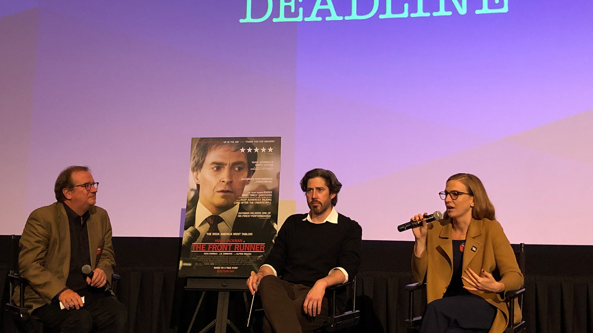 "Cinema Series host Pete Hammond, Director/Co-Writer/Producer Jason Reitman and Producer Helen Estabrook participate in a Q&A after a screening of ""The Front Runner"""