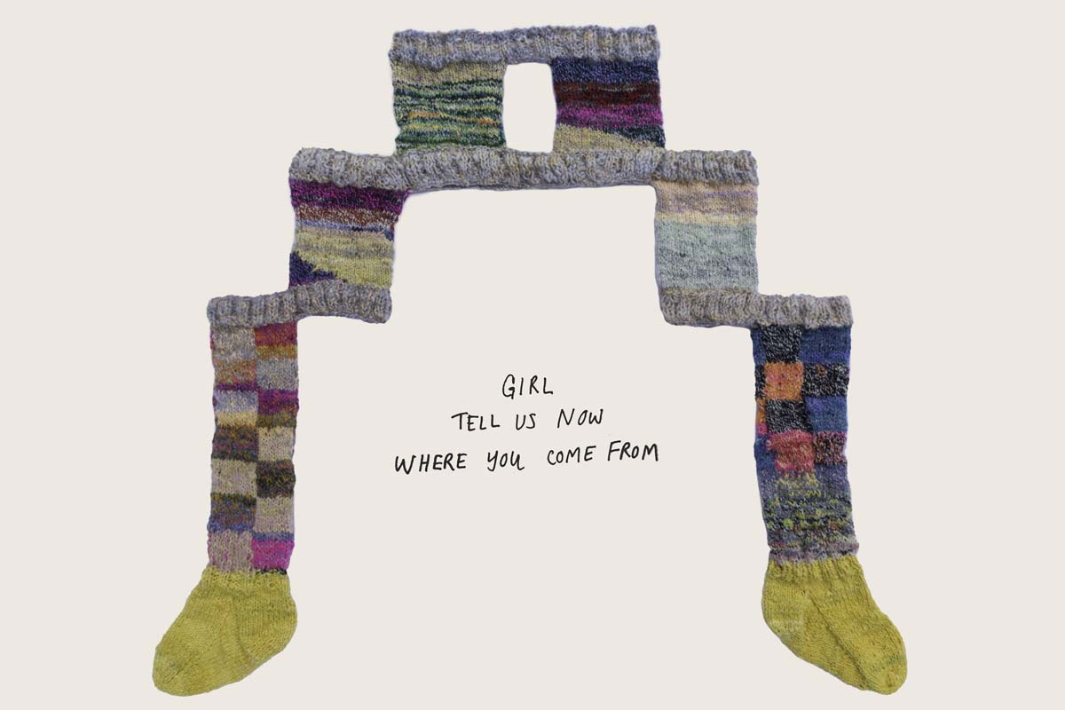 """Connie Fu, """"Possible outcomes (asking for her softness),"""" 2020. Hand-dyed, carded, spun, and knit 100% sheep's wool, with added text, 40"""" x 48.""""   Courtesy of the artist"""