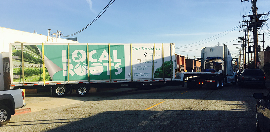 Our Mobile TerraFarm™ leaving Local Roots headquarters to conduct tours at South by Southwest 2017 in Austin, TX! | Courtesy of Local Roots
