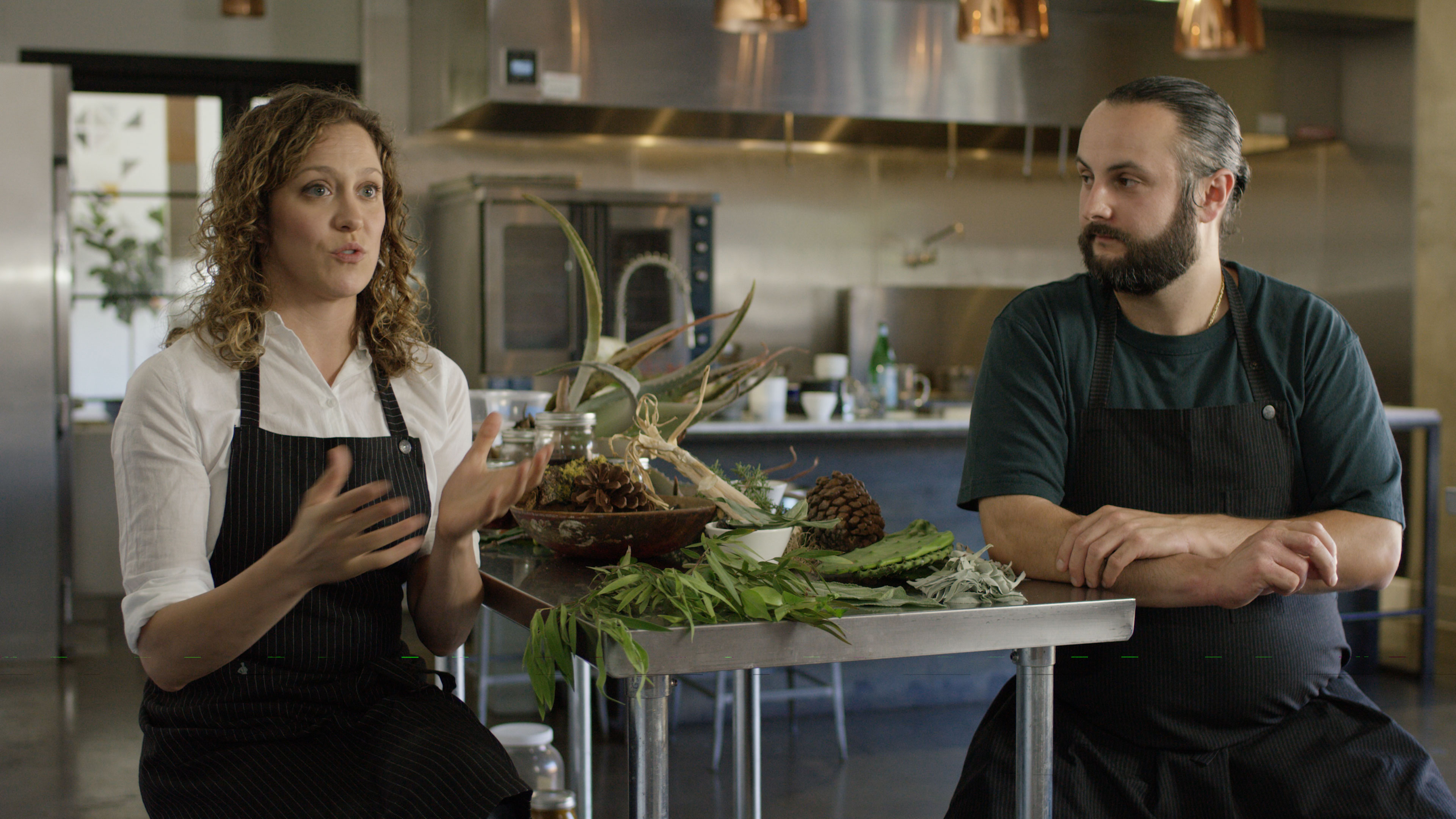 "Chefs Henry Fischer and Anna Rose Hopkins from Hank and Bean discuss future culinary landscapes looking forward to a world affected by climate change in the episode ""Future."""