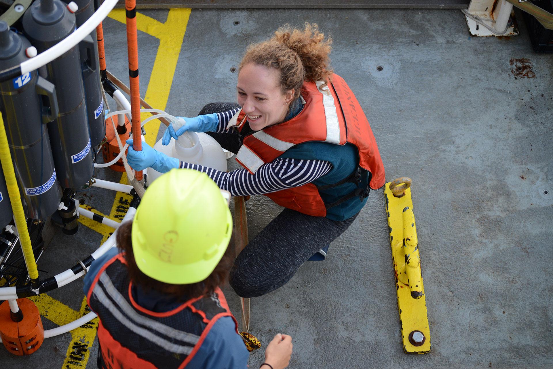 One of Levine's students checks the CTD. | Naomi Levine