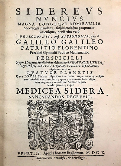 The cover of the book Sidereus Nuncius (Starry Messenger) by Galileo Galilei