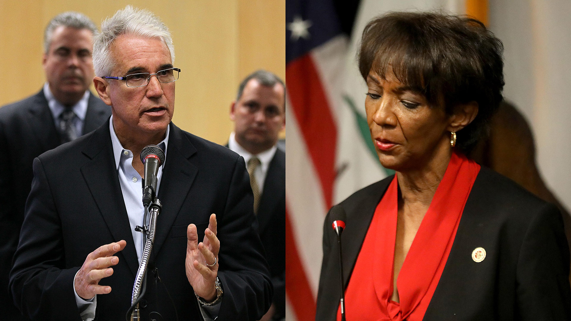 George Gascon speaks at a news conference at the San Francisco Hall of Justice May 5, 2010 in San Francisco, California. Jackie Lacey addresses the media at the Hall of Justice in downtown Los Angeles on Oct. 6, 2020.   Justin Sullivan/Genaro Molina/Getty