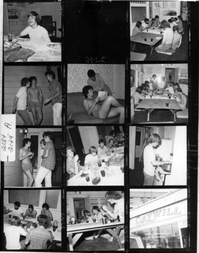 Contact sheet of young men at the Gay Community Services Center Liberation House and at the Gaywill Shop, 1971. | Pat Rocco, ONE National Gay and Lesbian Archives, USC Libraries