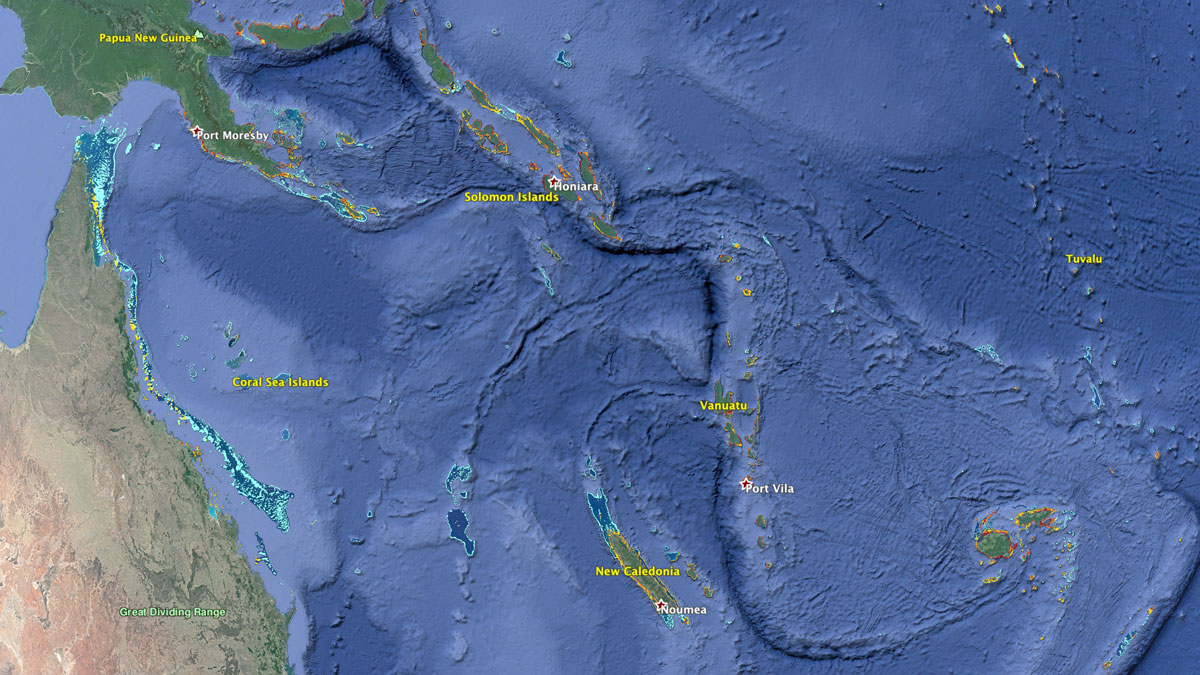 The Great Barrier Reef and nearby coral reefs | Map: KCET/Google Earth/WRI