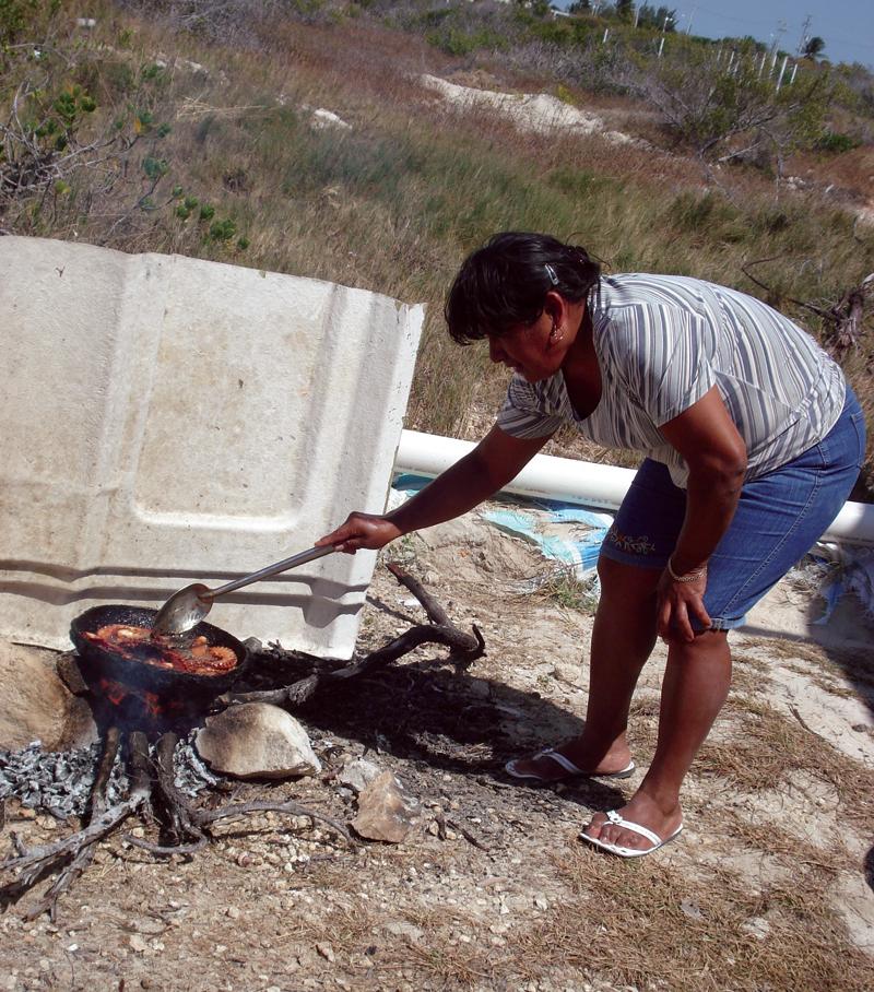 Genny Uicah Novelo prepares octopus for her coworkers' lunch. | Richard Schweid