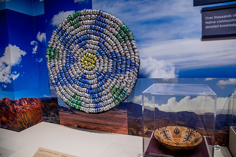 Gerald Clarke Jr. (Cahuilla) partly based his design for  Continuum Basket: Flora on designs like those in this early-20th-century basket by a Luiseno, Cupeno, or Mountain Cahuilla weaver. | Photo: The Autry Museum