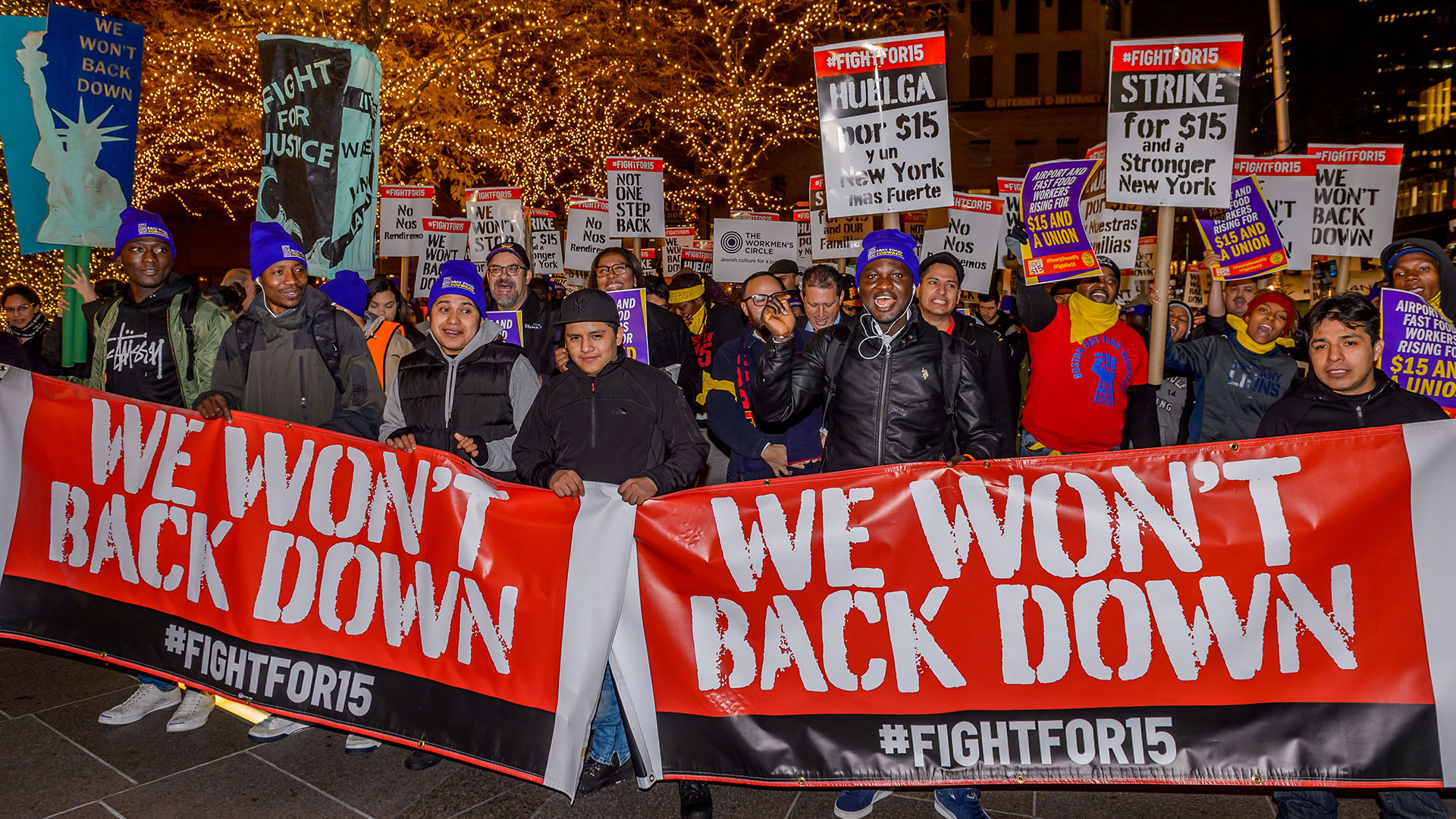Getty5 New York fast food workers join the Fight for $15 National Day of Action across the country in 2016. | Erik McGregor/Pacific Press/LightRocket via Getty Images