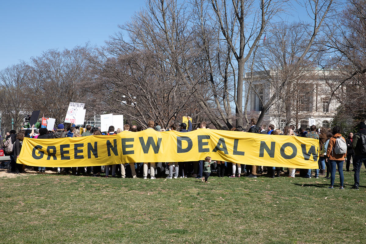 """Activist outside the Congress demanding a vote to pass """"The Green New Deal.""""   Aurora Samperio/NurPhoto via Getty Images"""