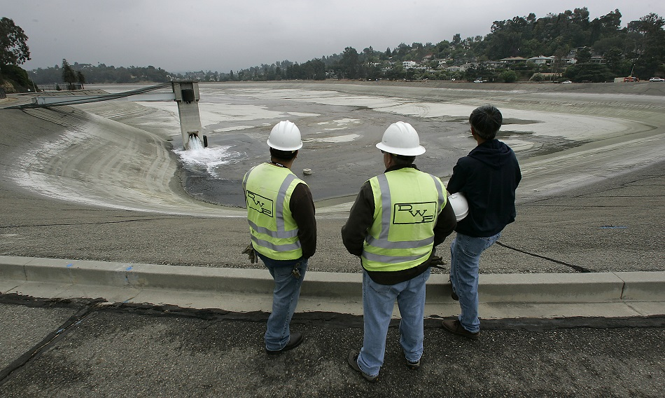 Department of Water and Power employees at Silver Lake Reservoir