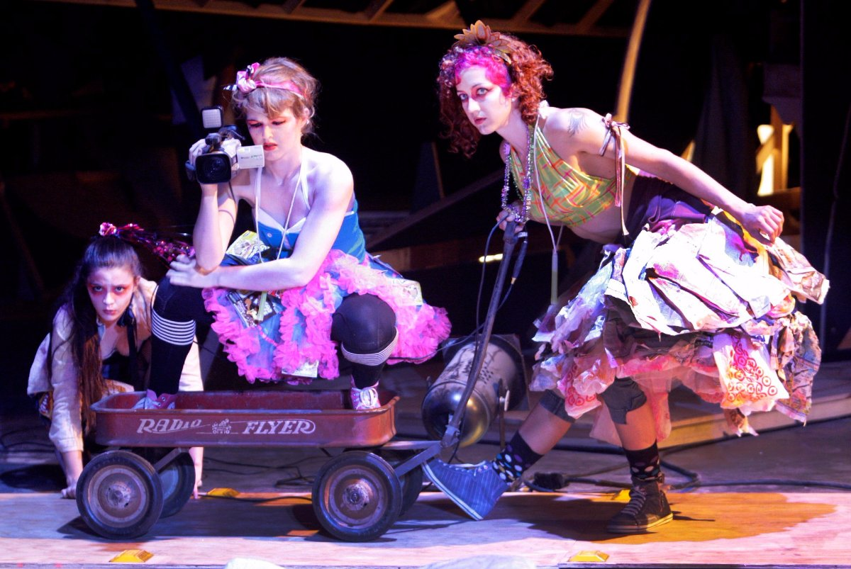 (L-R) Stacia Hitt (girl revelers), Chelsea Spirito (girl revelers) and Jordann Baker(girl revelers) during dress rehearsal of Ann La Baron's 'Crescent City' at Atwater Crossing. It was directed by Yuval Sharon. | Lawrence K. Ho/Los Angeles Times via Getty