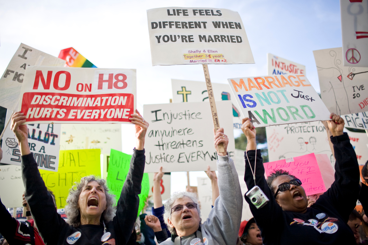 Rally On Steps Of California State Capitol Protests Passage Of Prop 8.   Photo: Max Whittaker / Stringer