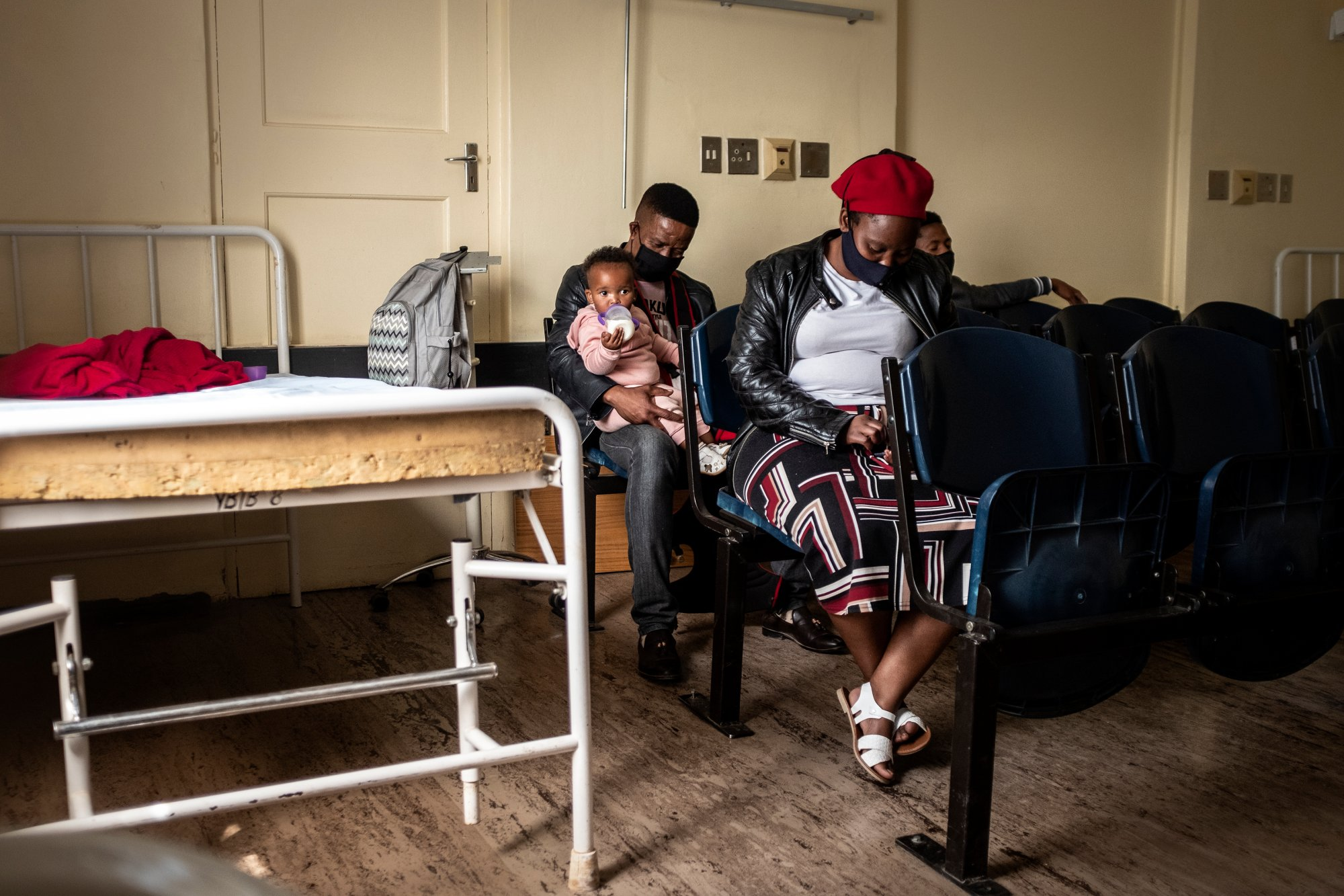 Patients await assistance at the Reivilo Health Centre in Reivilo on September 4, 2020.   Thomson Reuters Foundation/Gulshan Khan