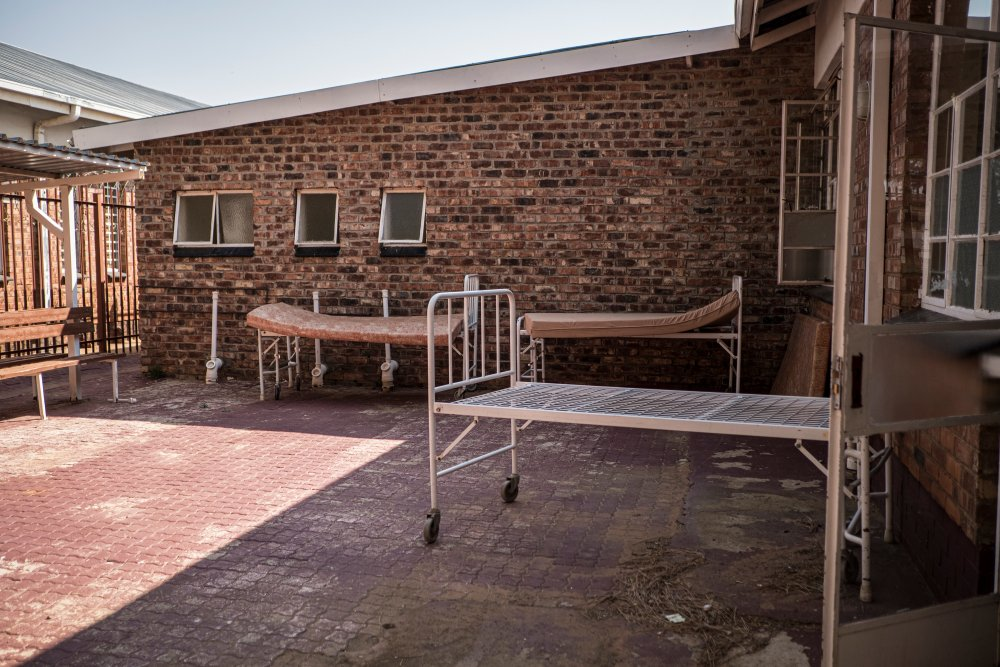 Beds stand in a courtyard outside the COVID-19 Ward of the Taung Hospital in Taung, the North West Province, South Africa, on September 4, 2020.   Thomson Reuters Foundation/Gulshan Khan