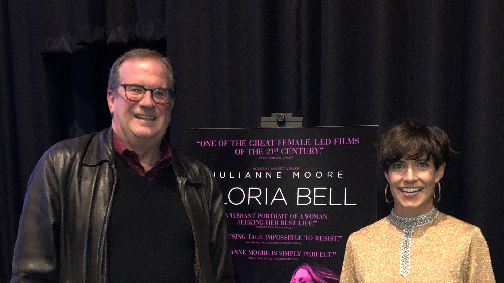 "Cinema Series host Pete Hammond and Screenwriter Alice Johnson Boherafter a screening of ""Gloria Bell"""