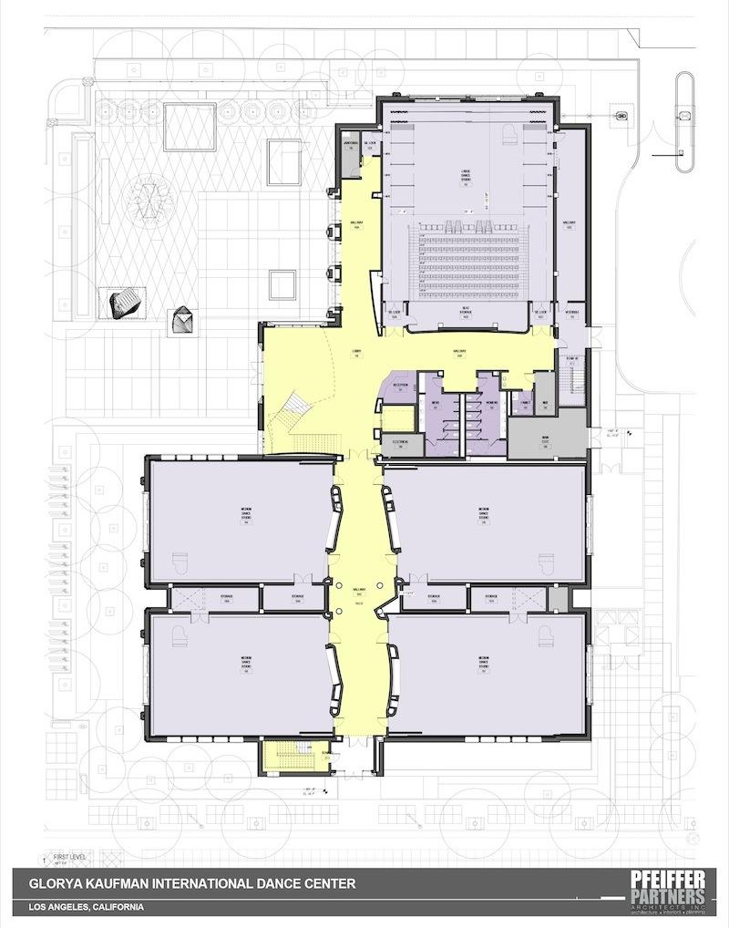 Floor plan design for the USC Glorya Kaufman International Dance Center.