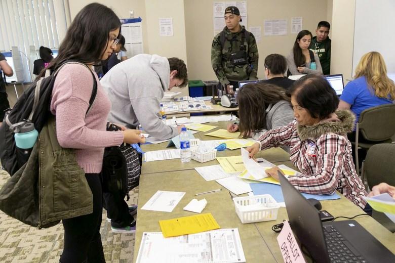 Sacramento State students vote on campus, November 6, 2018. |  Eucario Calderon, The State Hornet, Courtesy of CalMatters