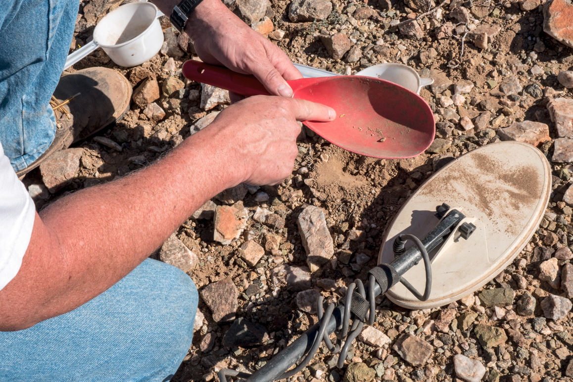 This small gold flake was located using a metal detector. | Kim Stringfellow