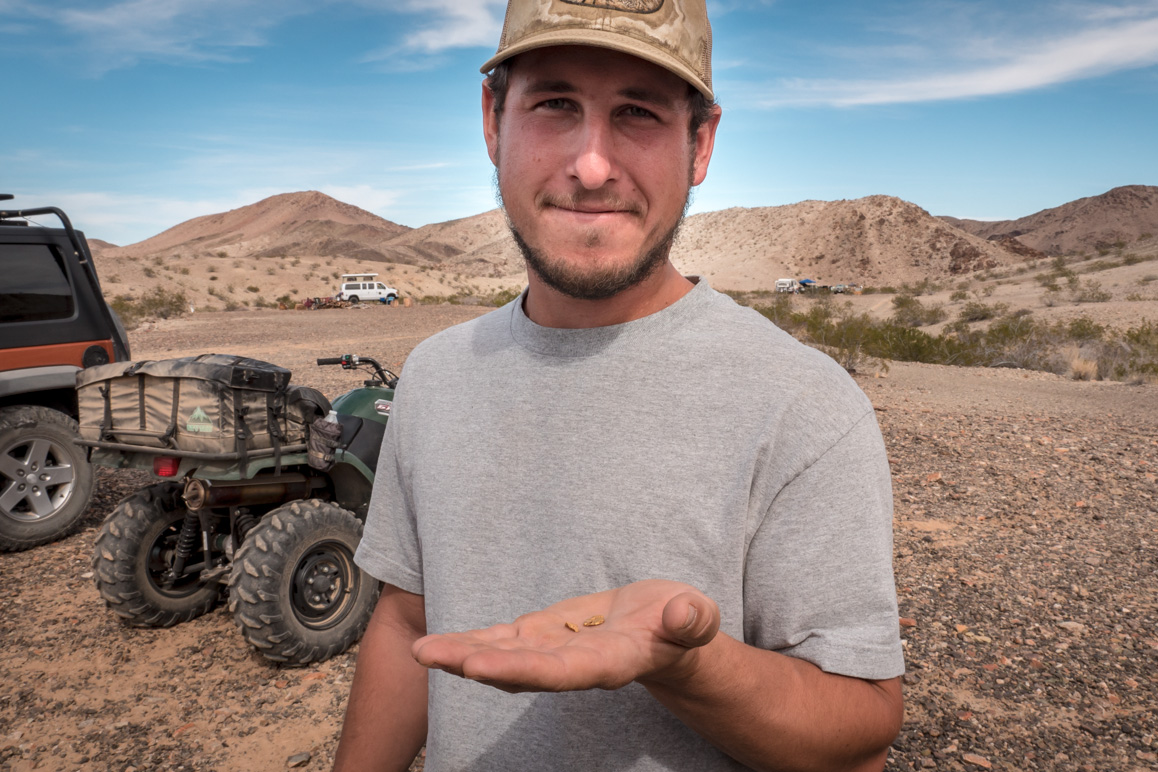 FCM Danny Panattoni shows off two small gold nuggets found at the remote Middle Camp area he worked. | Kim Stringfellow