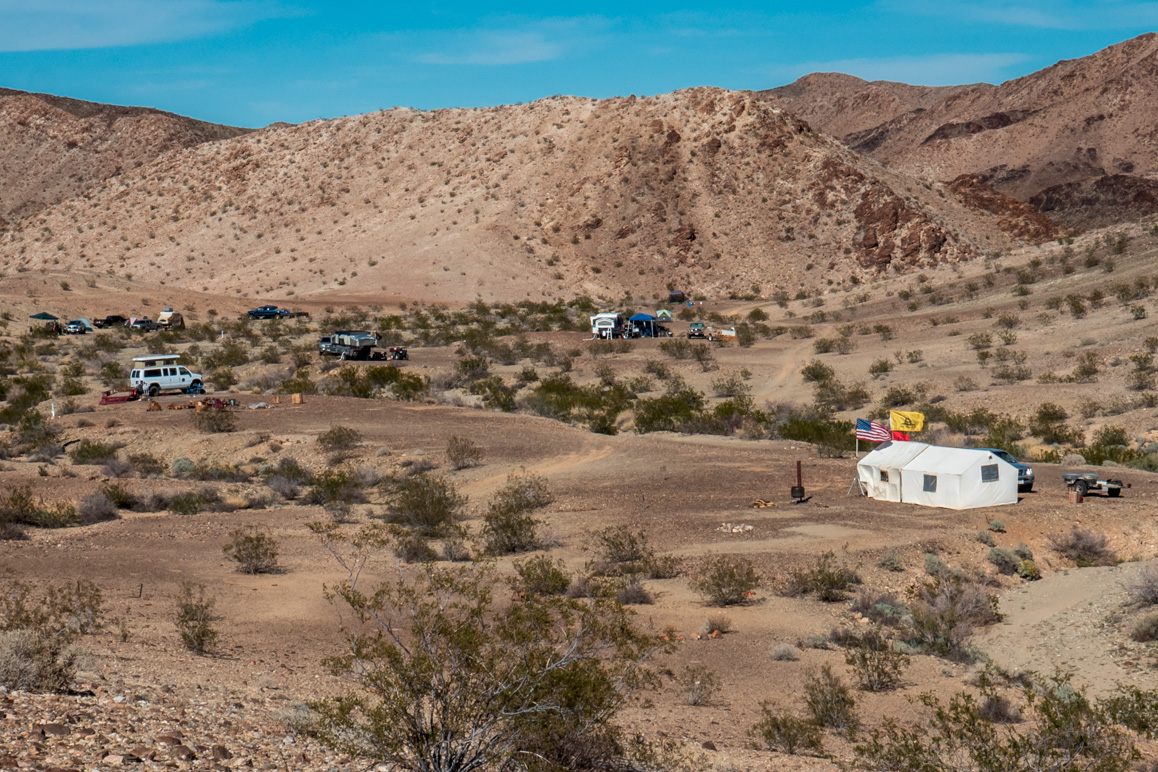 A view of First Class Miner's camp at their Middle Camp claim in the Eagle Mountain Mining District. | Kim Stringfellow