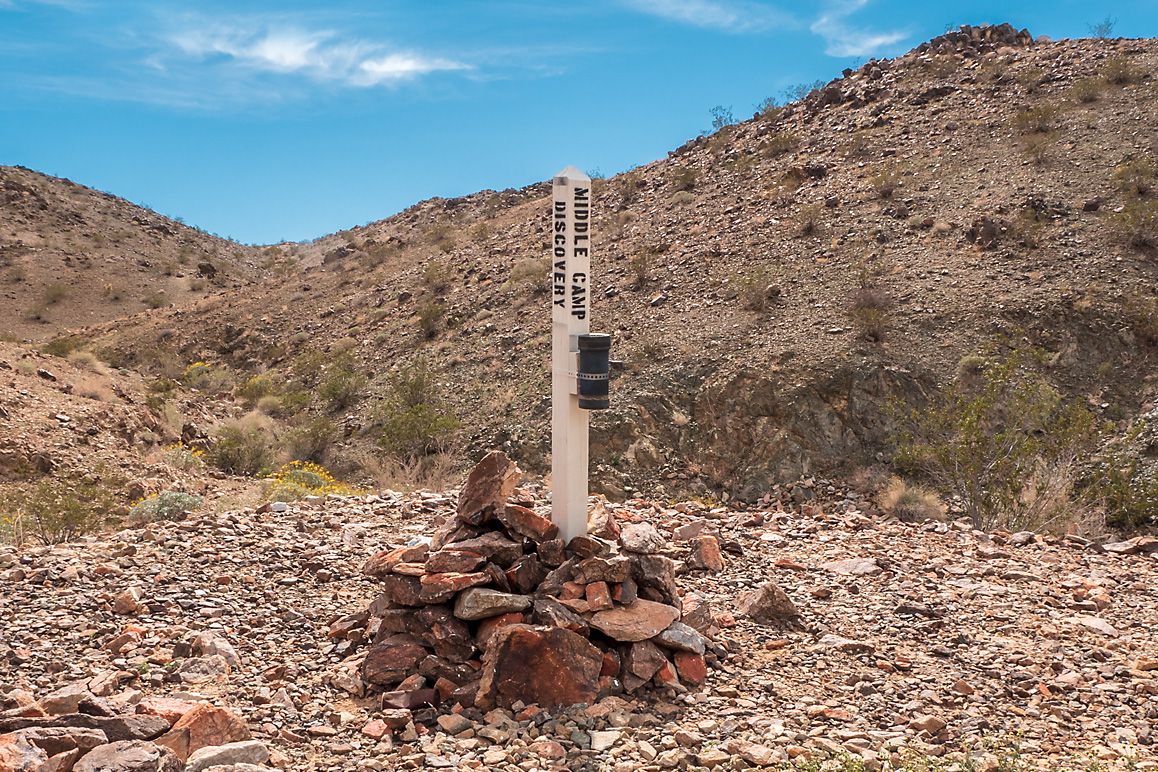 The discovery monument of the Middle Camp claim. | Kim Stringfellow