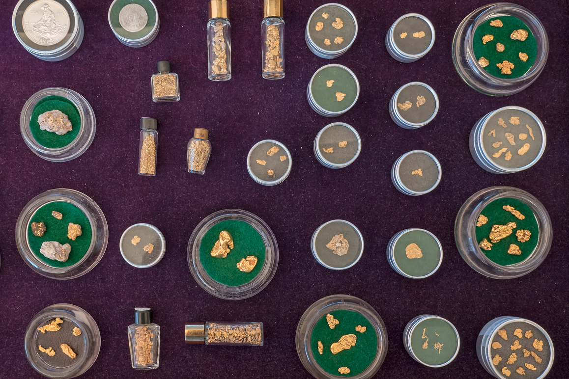 A gold nugget collection belonging to a member of First Class Miners at the annual Joshua Tree Gem & Mineral Show. | Kim Stringfellow