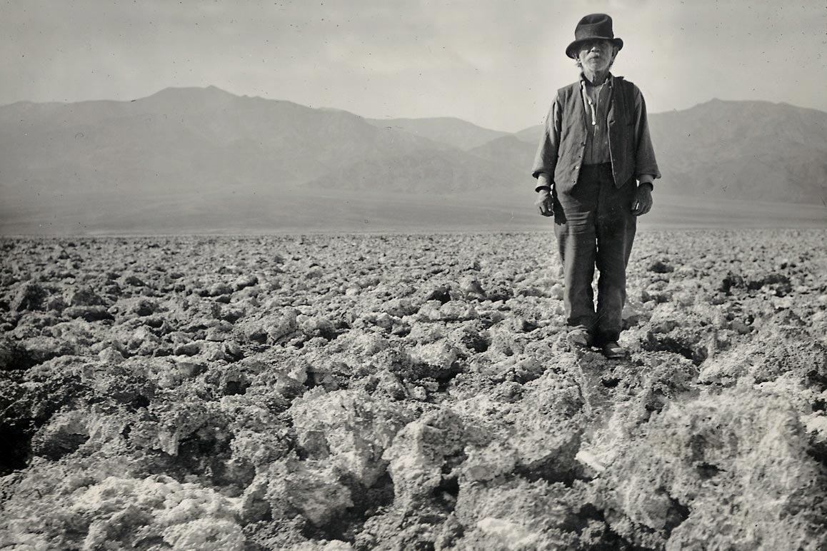 "Frank ""Shorty"" Harris — the quintessential ""single blanket jackass prospector"" photographed by Dane Coolidge on Death Valley's salt beds. 