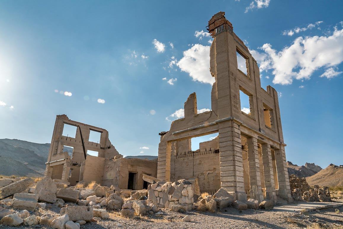 The ruins of Rhyolite's John S. Cook & Co. Bank Kim Stringfellow, August 2018.
