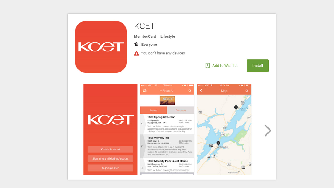 KCET MemberCard App in the Google Play Store