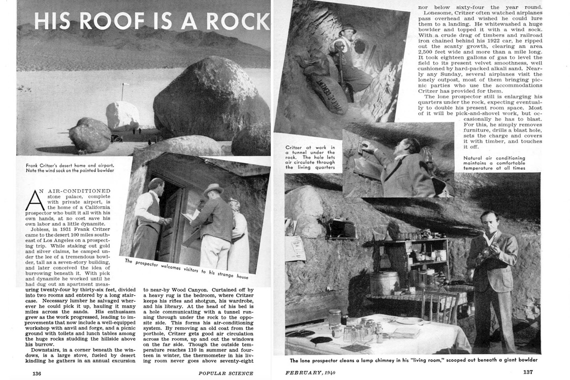 A February 1940 Popular Science feature on Frank Critzer's unique subterranean abode and airstrip.