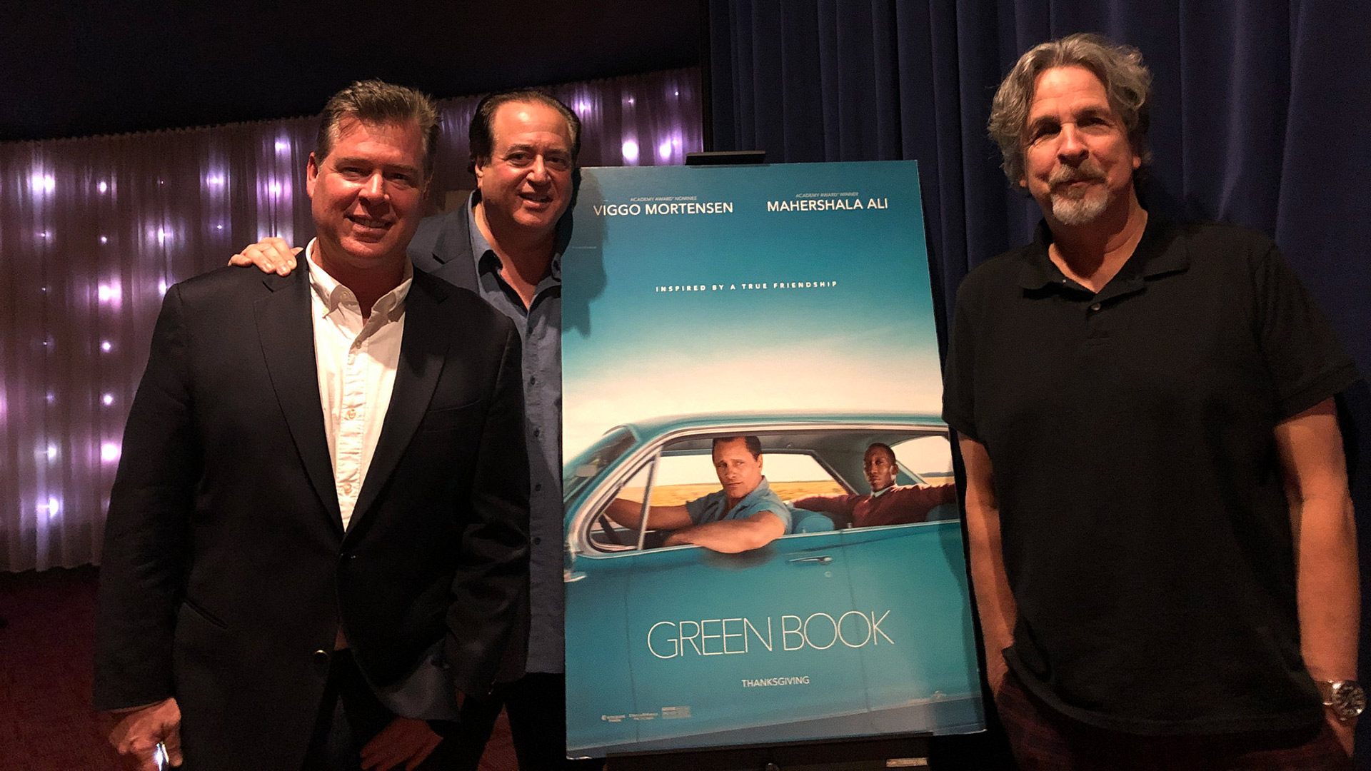 """Writer/Producer Brian Hayes Currie, Writer/Producer Nick Vallelonga and Director/Writer/Producer Peter Farrelly after a screening of """"Green Book"""""""