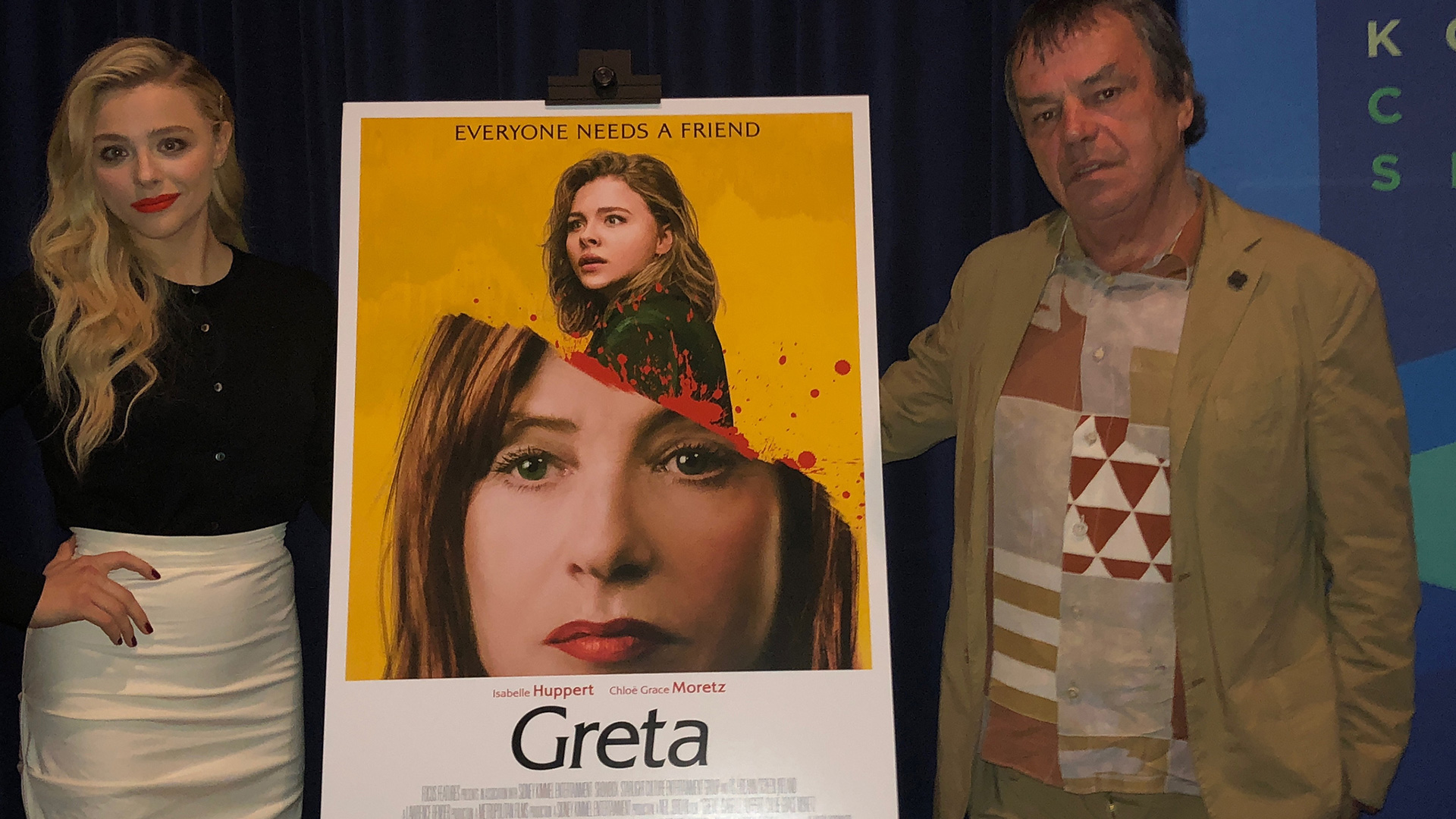 "Director Neil Jordan and Actor Chloë Grace Moretz after a screening of ""Greta"""
