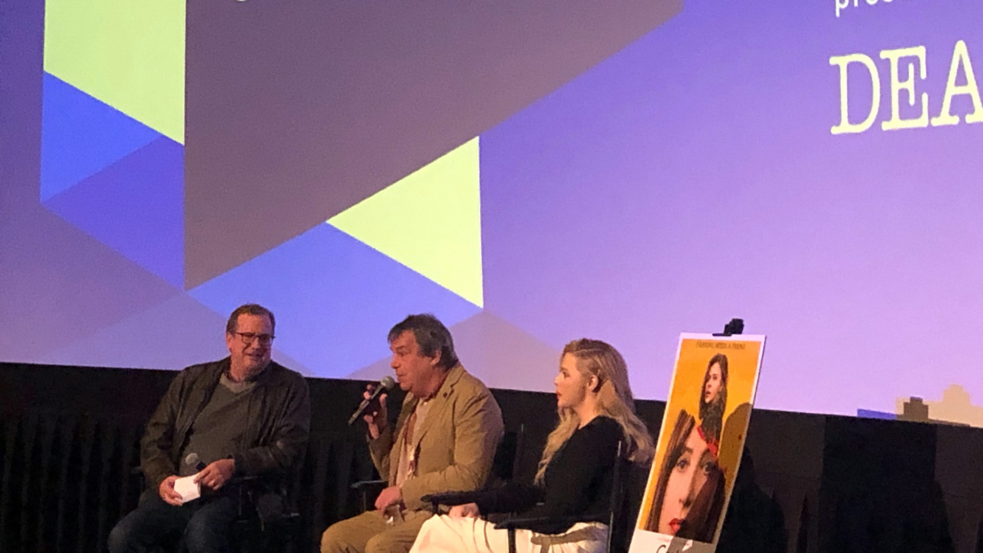 "Cinema Series host Pete Hammond, Director Neil Jordan and Actor Chloë Grace Moretz participate in a Q&A after a screening of ""Greta"""