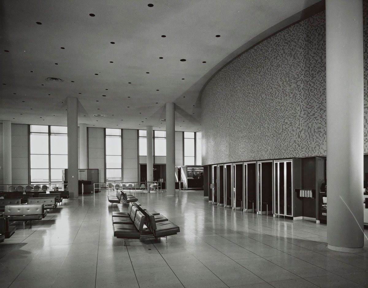 Arrival area of the LAX Theme Building, which Paul R. Williams helped design | J. Paul Getty Trust. Getty Research Institute, Los Angeles