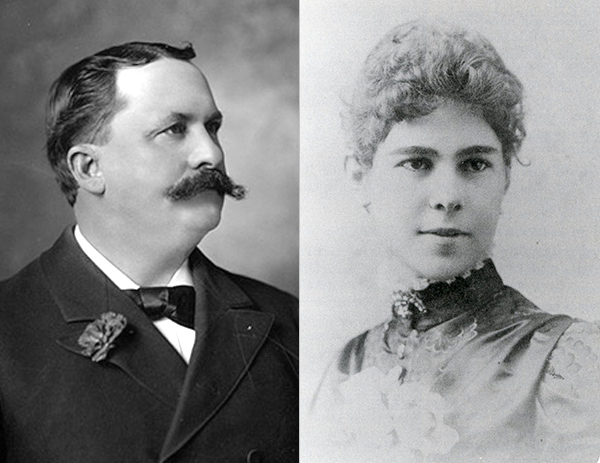 Griffith J. Griffith with wife, Mary Agnes Christina Mesmer | Image of Griffith courtesy UCLA, Library Special Collections, Charles E. Young Research Library, Image of Mesmer courtesy Van Griffith