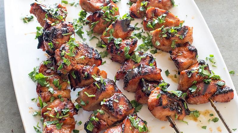 Grilled Pork Kebabs with Sweet Sriracha Glaze