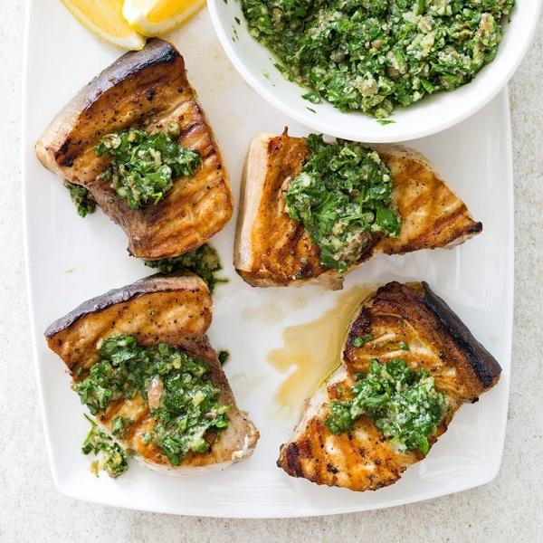 Grilled Swordfish Steaks with Salsa Verde