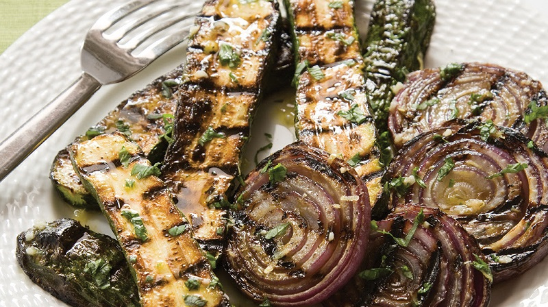 Grilled Zucchini and Red Onion with Lemon-Basil Vinaigrette