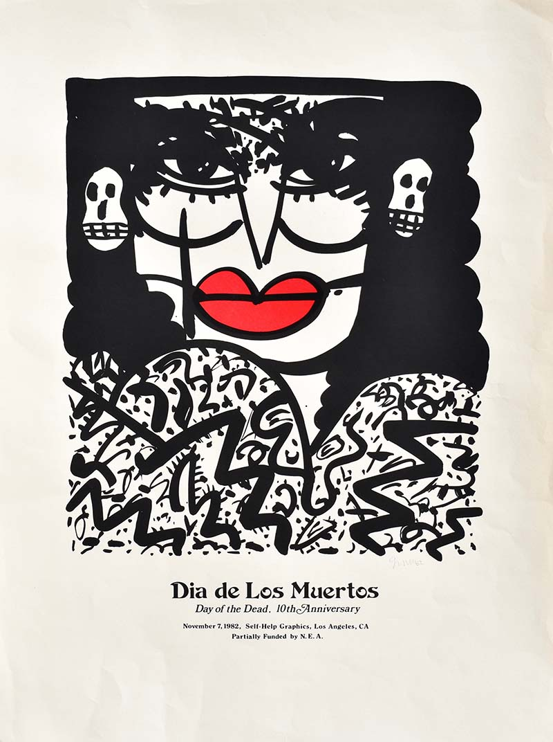 10th anniversary Day of the Dead print by Gronk (1982 Commemorative Dia de Los Muertos Print) | Courtesy of Self Help Graphics & Art