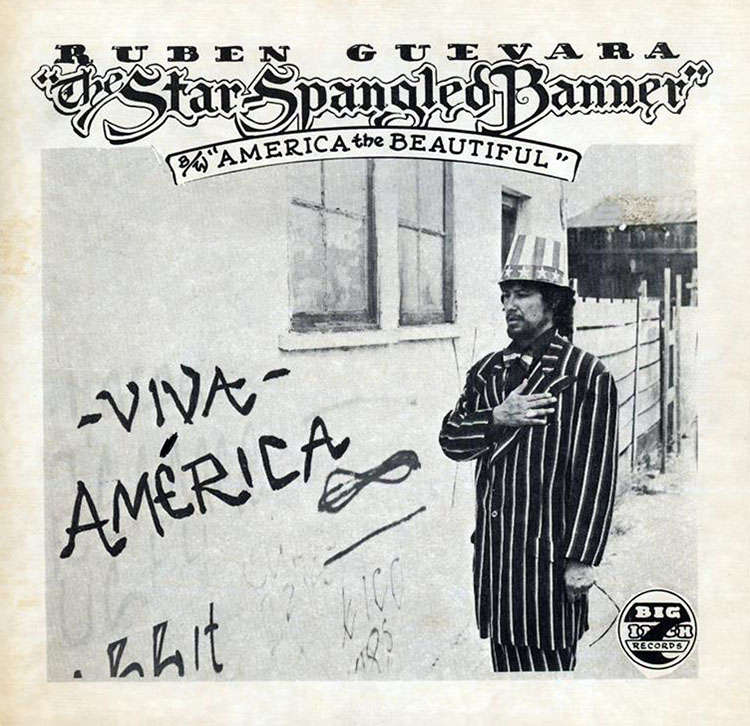 "Cover art for the 45 rpm single of Ruben Guevara's doo-wop version of ""The Star-Spangled Banner,"" 1976 