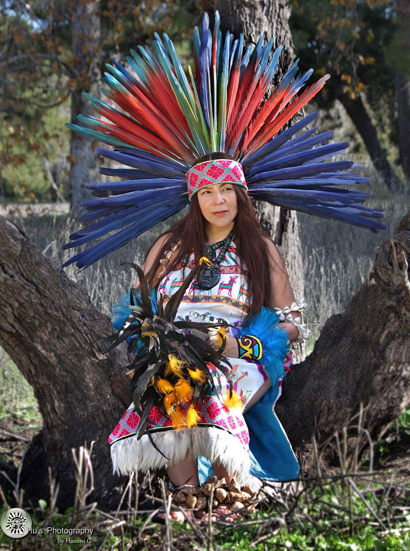 Gypsie Vasquez-Ayala poses in her danza regalia.   Hu's Photography by Husani G, Courtesy of Gypsie Vasquez-Ayala