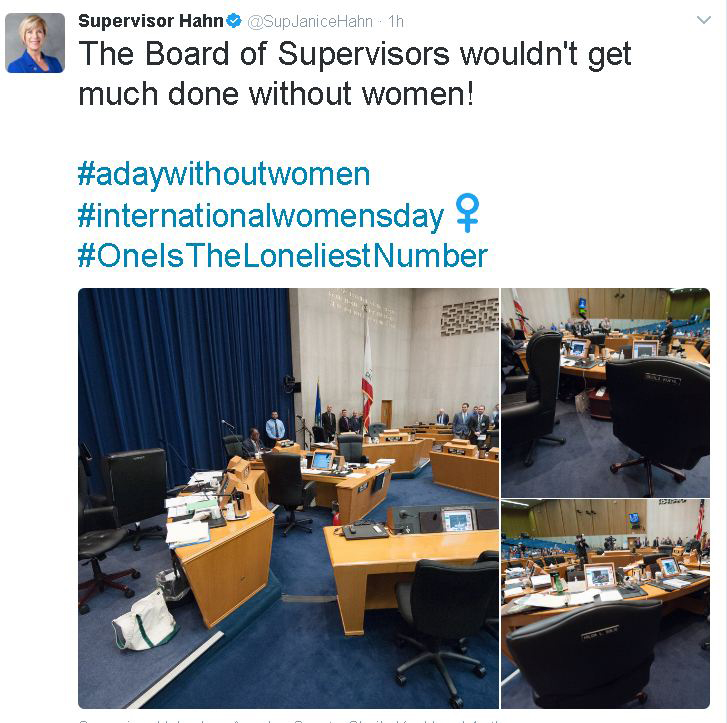 L.A. County Supervisor Janice Hahn tweets about women's walkout at Board of Supervisor's meeting.