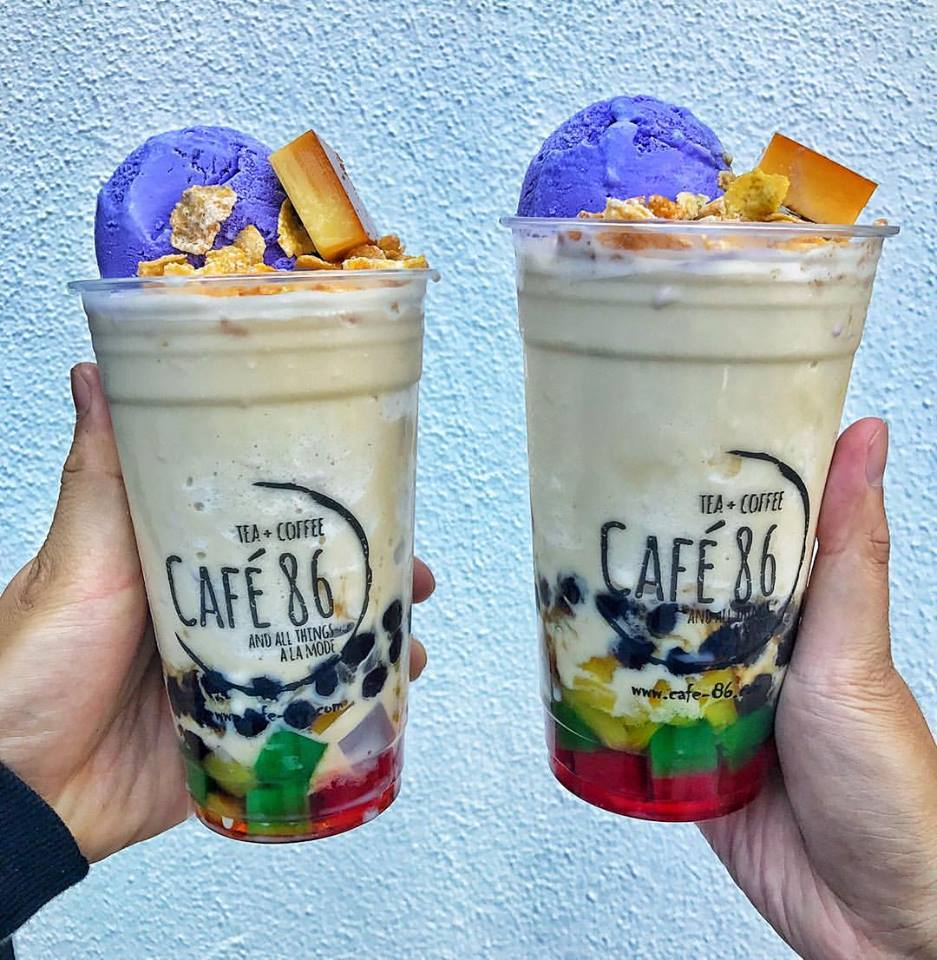 Halo-halo is a Filipino dessert made with shaved ice, evaporated milk mixed with various ingredients including sweet beans, jackfruit and usually topped with ube ice cream. | Courtesy of Cafe 86