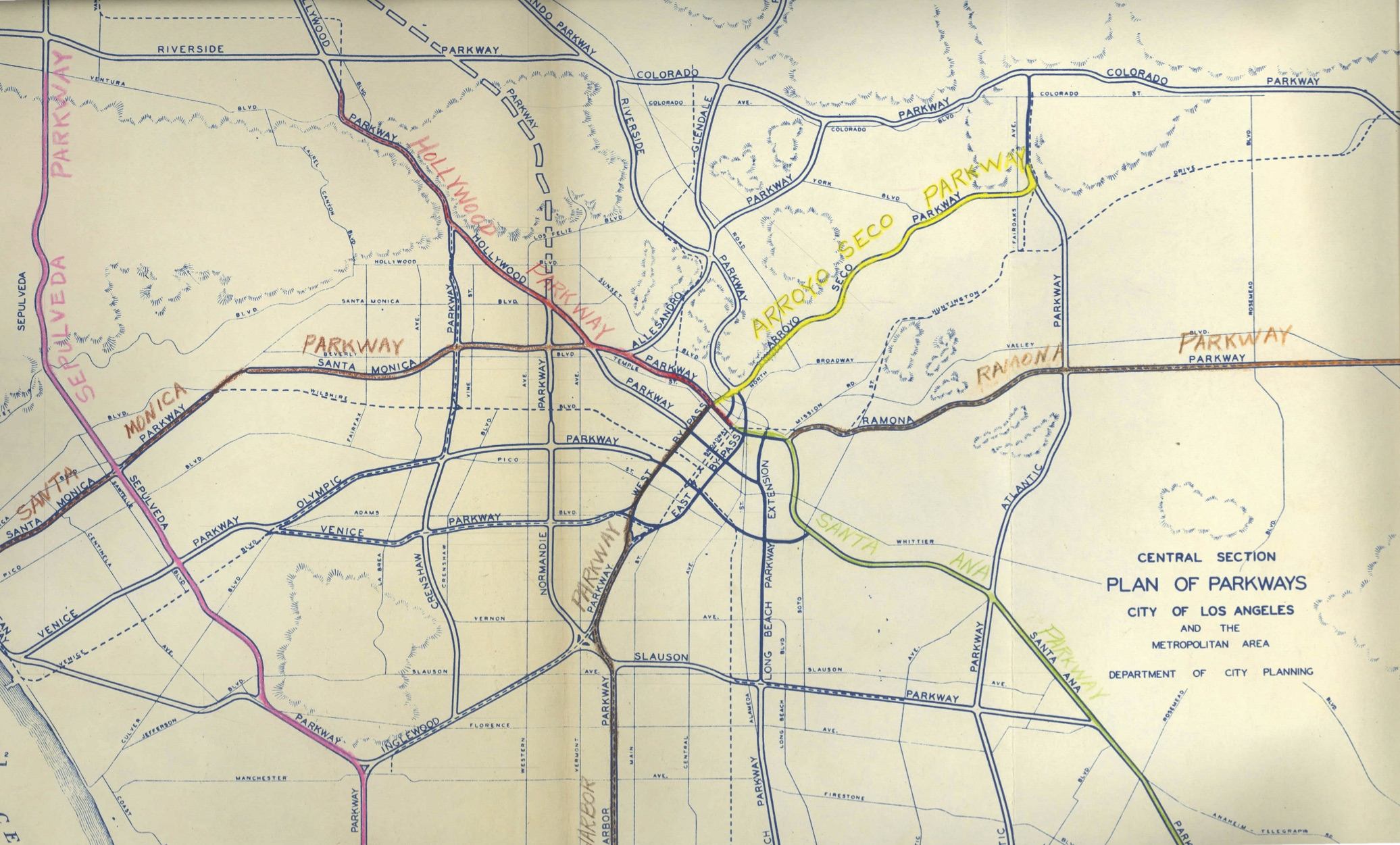 An early master plan of Los Angeles freeways from a 1943 report, Freeways for the Region, courtesy of the Metro Transportation Library and Archive
