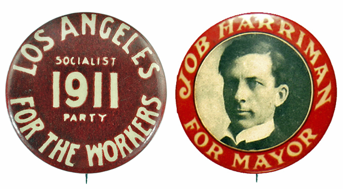 Harriman and Socialist Party buttons, 1911