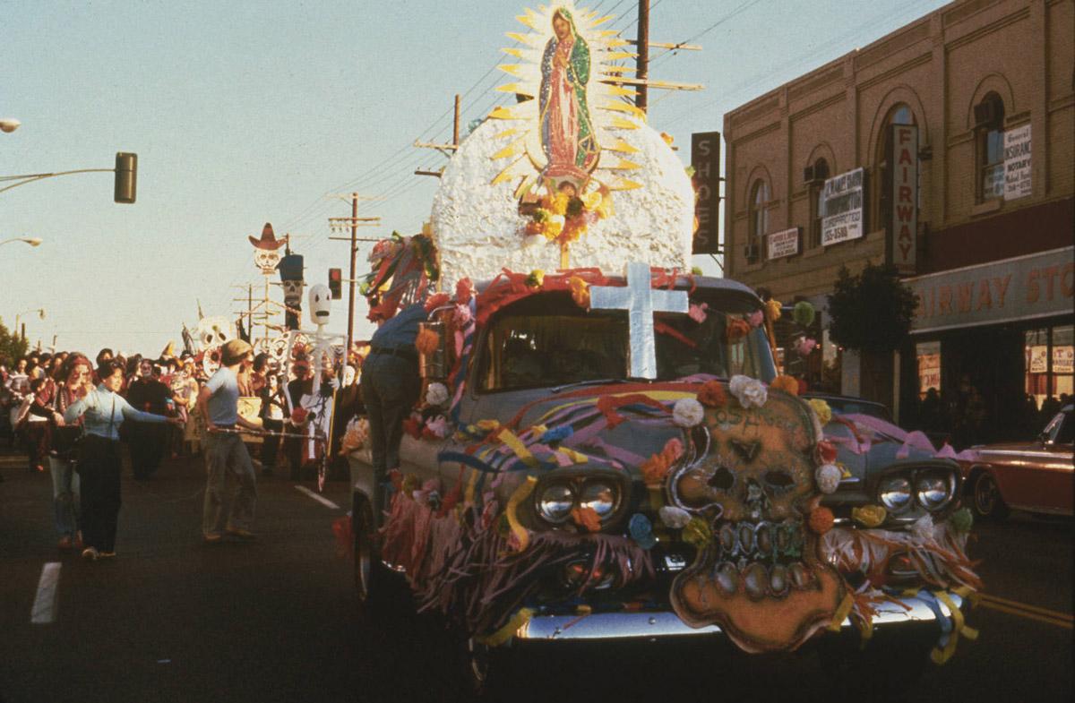 Car altar with Virgen de Guadalupe during Self Help Graphics & Art's Día de los Muertos procession | Courtesy of Self Help Graphics & Art