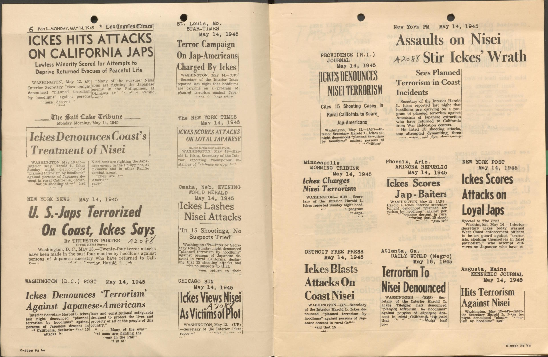 Headlines of Harold Ickes denouncing violence against returning Japanese Americans