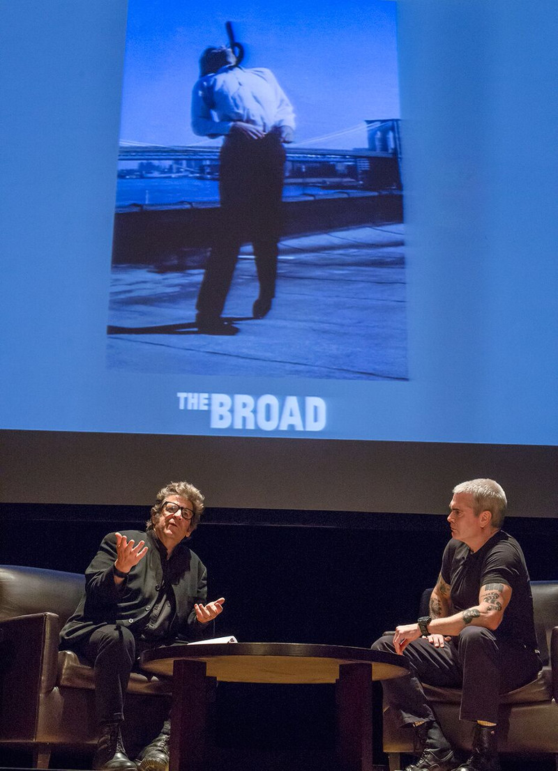 From left, artist Robert Longo and Henry Rollins speak during The Un-Private Collection