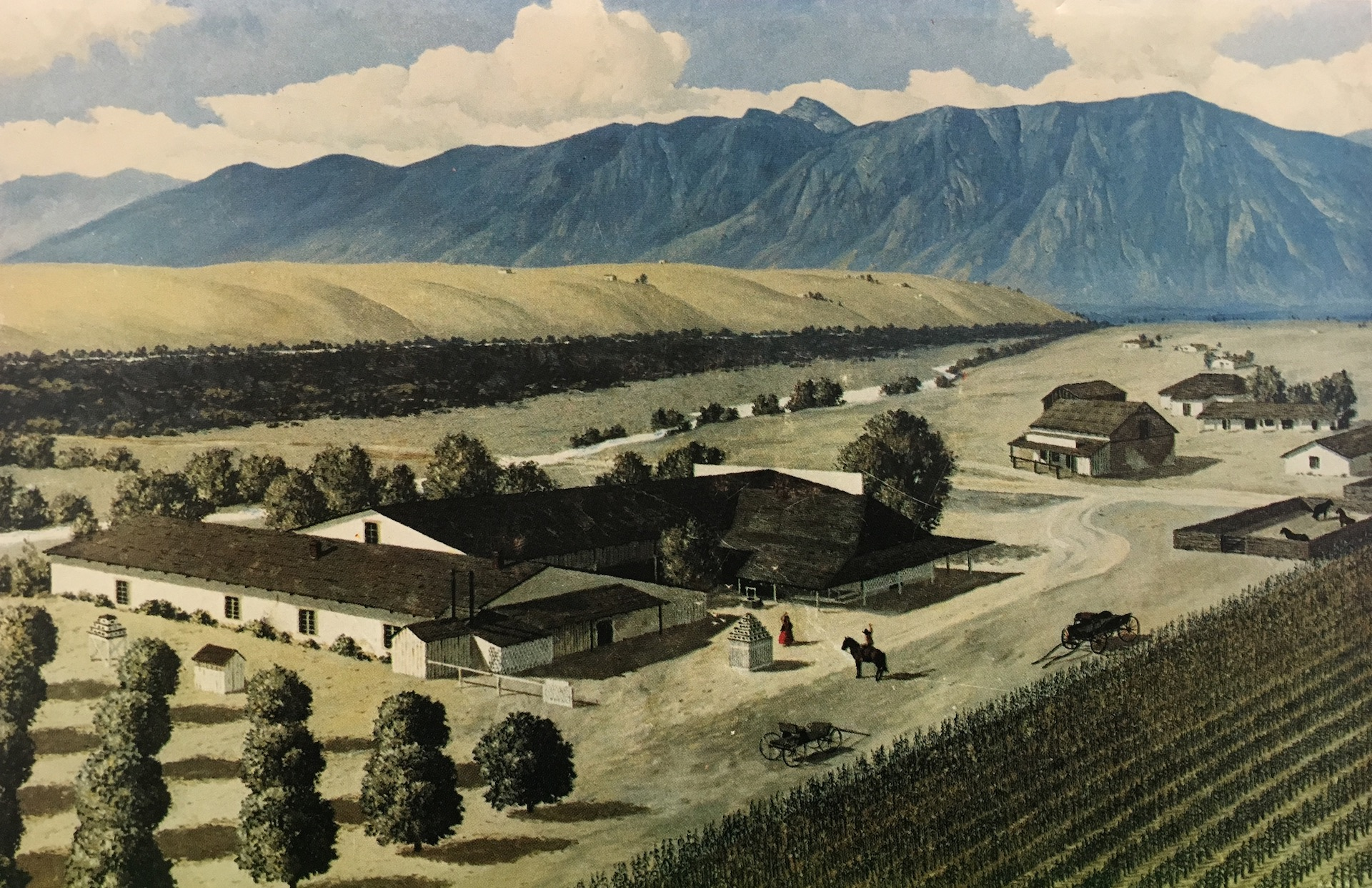 "Oil painting of Pico's ""El Ranchito in the 1880s,"" painted by artist Herbert Hahn in the 1960s"